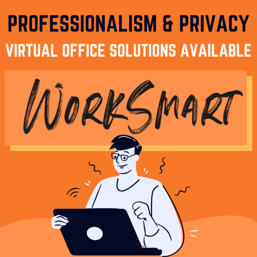 This image is a graphic of a male character on a laptop computer, with a caption explaining the benefits of a virtual office fromworksmart coworking.