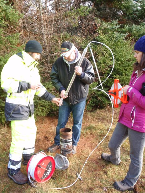 researchers measuring water levels in the field