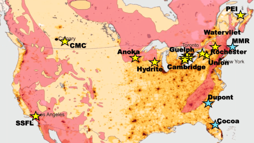 Map of North American G360 groundwater research sites