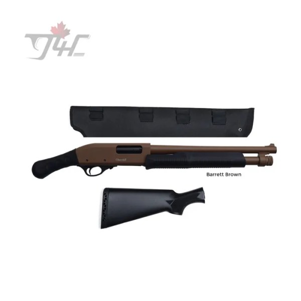 "Churchill Pump w/Shockwave Grip & Scabbard 12Gauge 15"" BRL Cerakote Barret Brown"