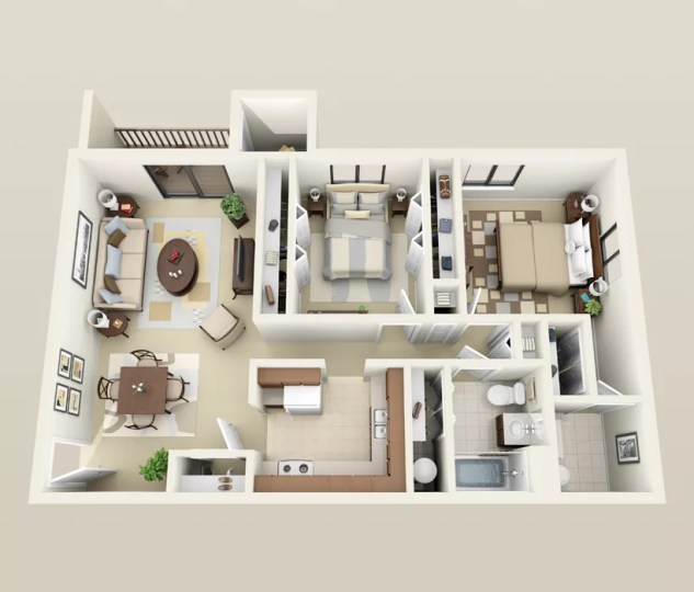 Affordable 2 Bedroom Apartments in Madison  WI Large 2 Bedroom  1 5 Bath floor plan for Heather Downs Apartments