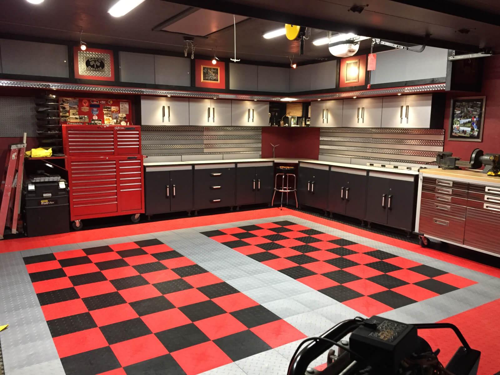 red checkered tile garage floor