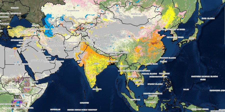 Irrigated Africa and Asia    IWMI Irrigated Area Map Asia 2000 2010  and Africa 2010