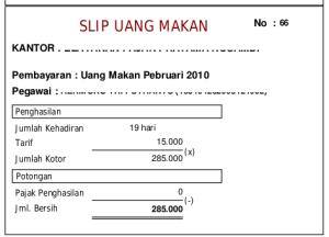 Uang Makan PNS Golongan II 2010