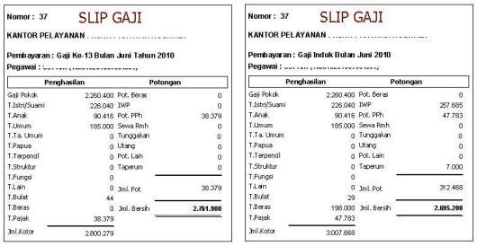 Gaji ke-13 PNS Tahun 2010