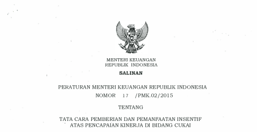 PMK Insentif Direktorat Jenderal Bea dan Cukai
