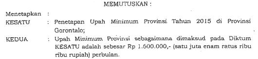 UMP Gorontalo 2015