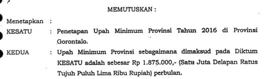 UMP Gorontalo 2016