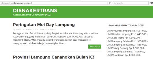 UMP & UMK Provinsi Lampung Tahun 2015