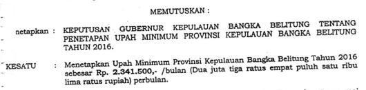 UMP (Upah Minimum Provinsi) Kepulauan Bangka Belitung Tahun 2016