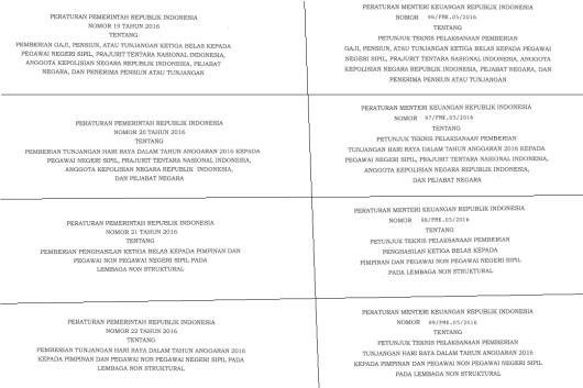 4 Peraturan Pemerintah (PP) & 4 Peraturan Menteri Keuangan (PMK) tentang Gaji 13 & THR (14)
