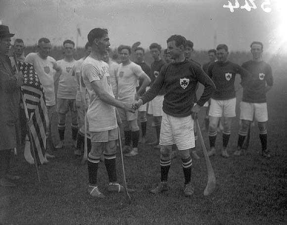 Scotland and Ireland Captains shake hands before the Hurling-Shinty International at the Tailteann Games in 1924