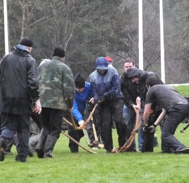 Manx Cammag North v South on St. Stephen's Day 2015 in the Isle of Man