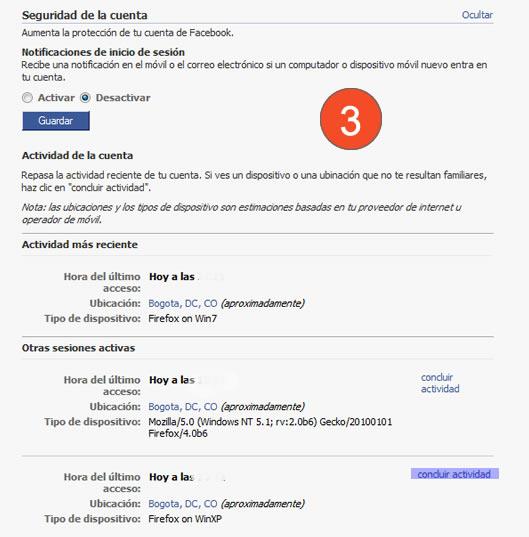 Cerrar remotamente sesion de Facebook 3
