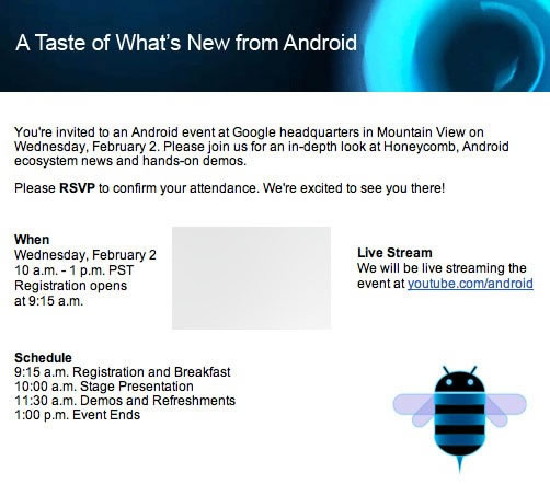 Android 3.0 Honeycomb Event