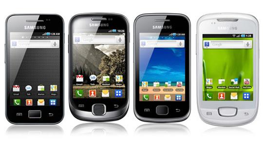 Samsung Galaxy Ace, Galaxy Fit, Galaxy Gio y Galaxy Mini
