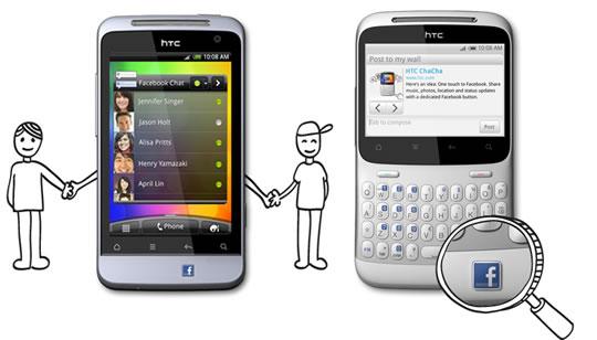 HTC Salsa y HTC ChaCha con boton de Facebook