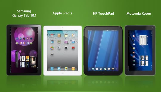 Comparacion iPad 2, Samsung Galaxy 101, HP TouchPad, LG G-Slate