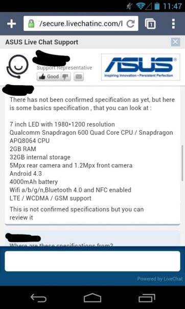 Características Nuevo Nexus 7 2