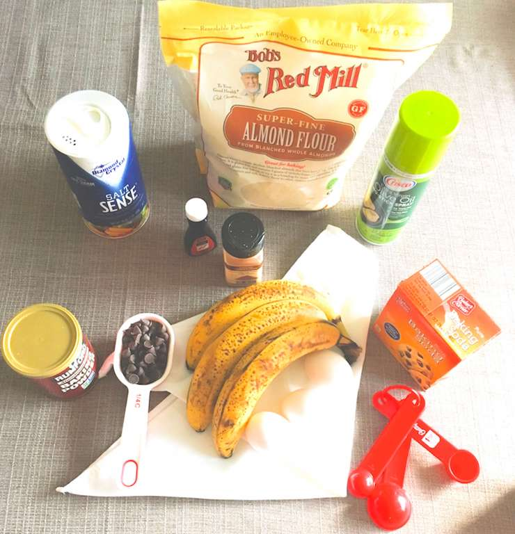 Ingredients to make almond flour banana muffins