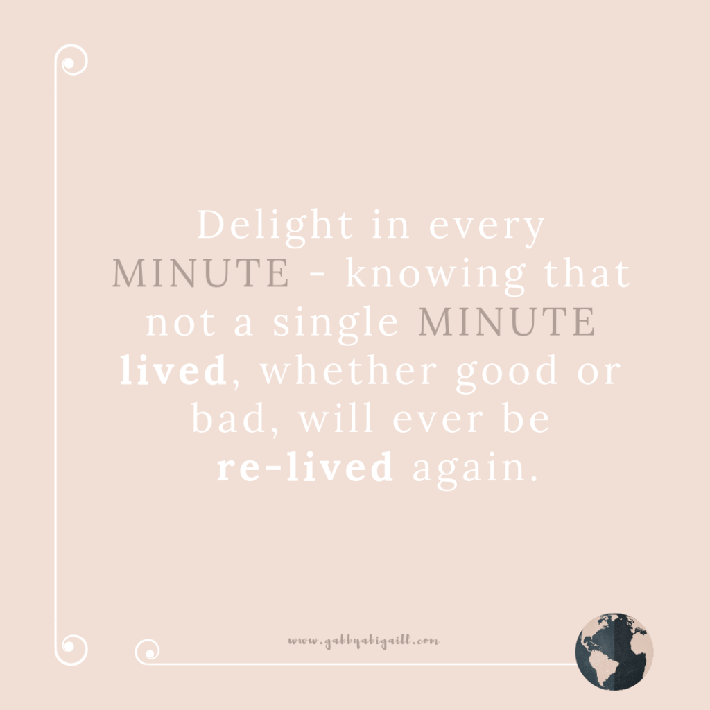 A quote about enjoying every minute