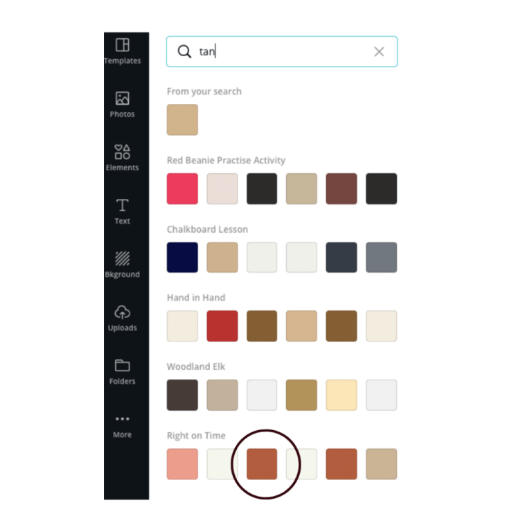 color palette in canva