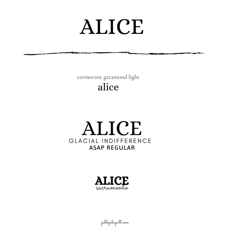 Alice font and font pairings.
