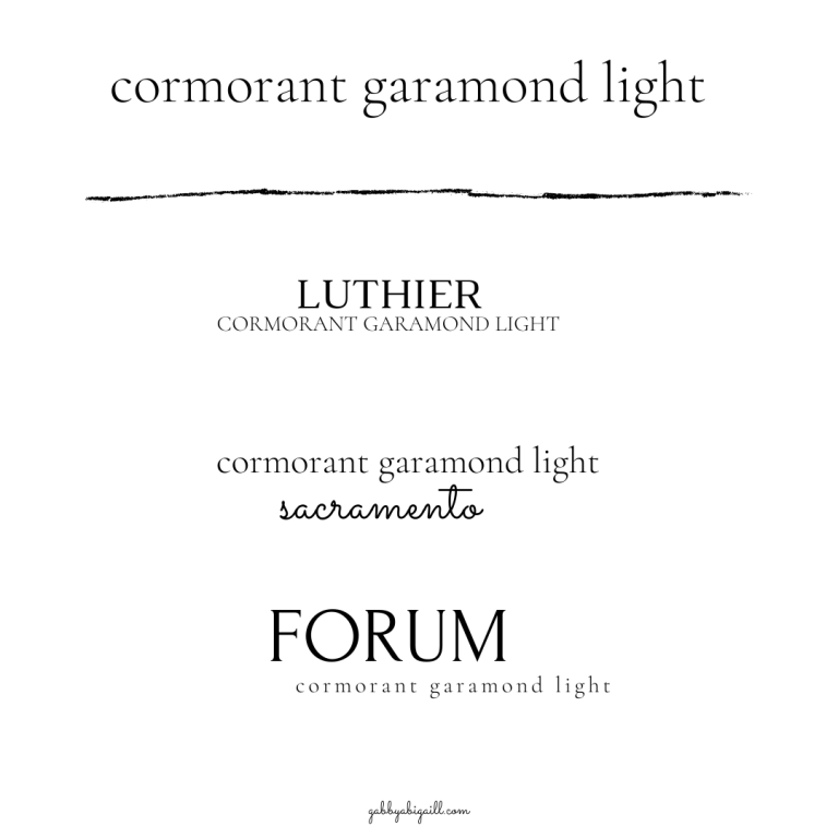 Cormorant Garamond Light Font and other canva font pairings.