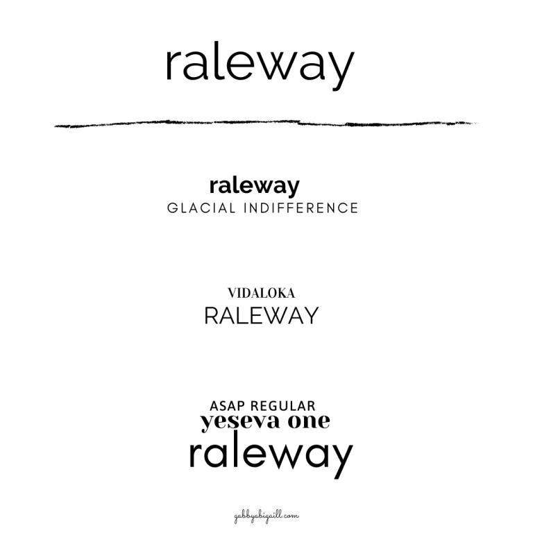 Raleway font and font pairings.