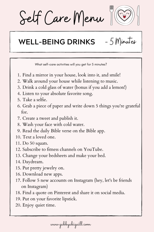 A list of 20 ideas you can practice for your well-being in 5 minutes.