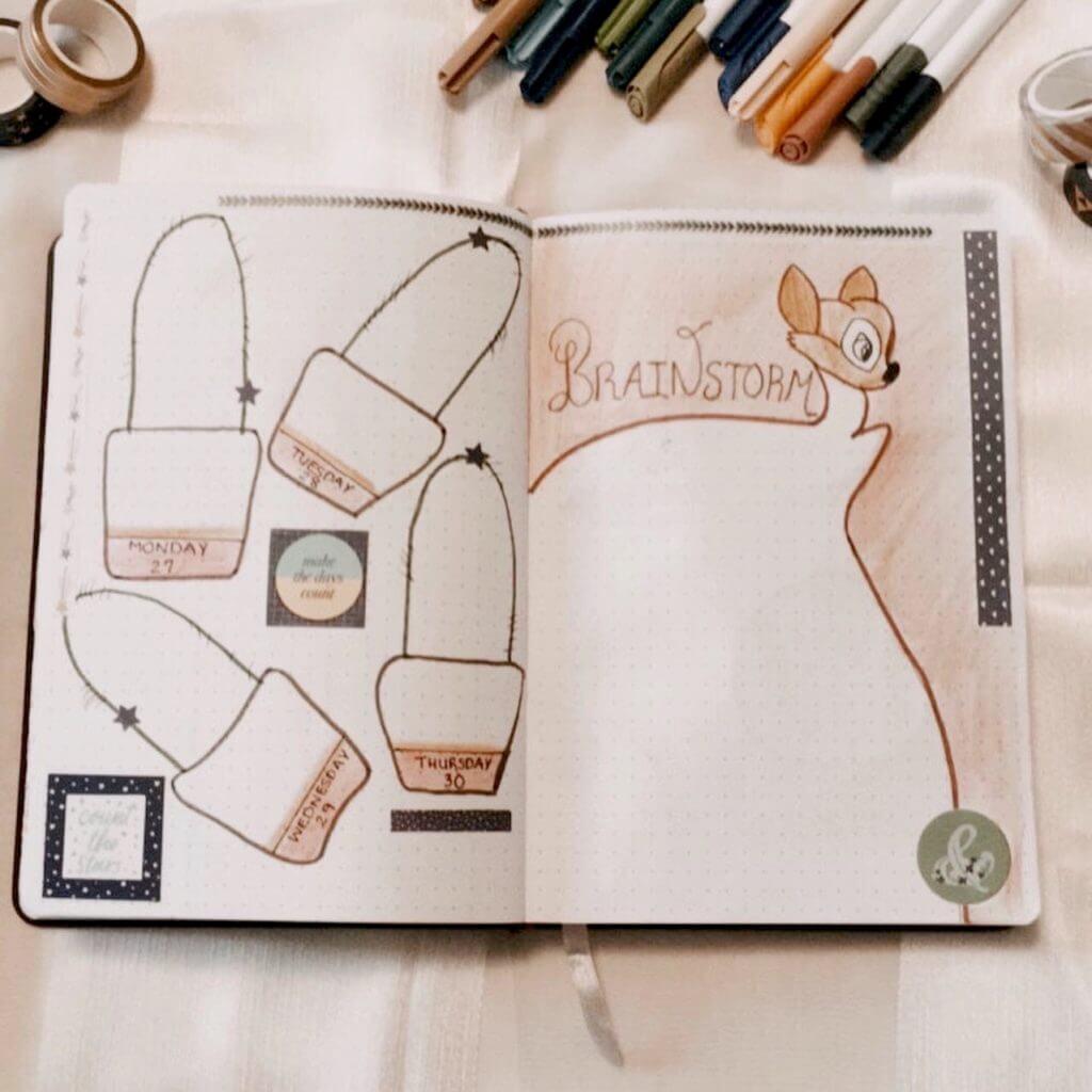 brainstorm bullet journal page