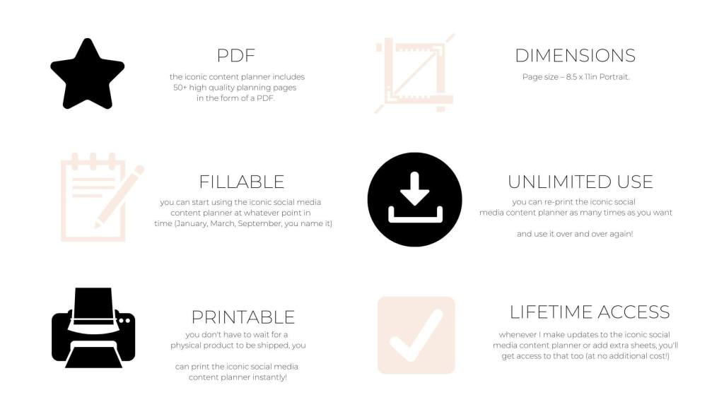 iconic social media content planner features