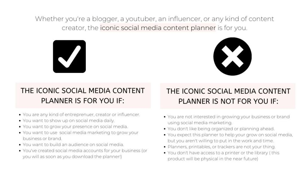 who the iconic social media content planner is for