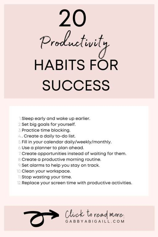 20 productivity habits for success