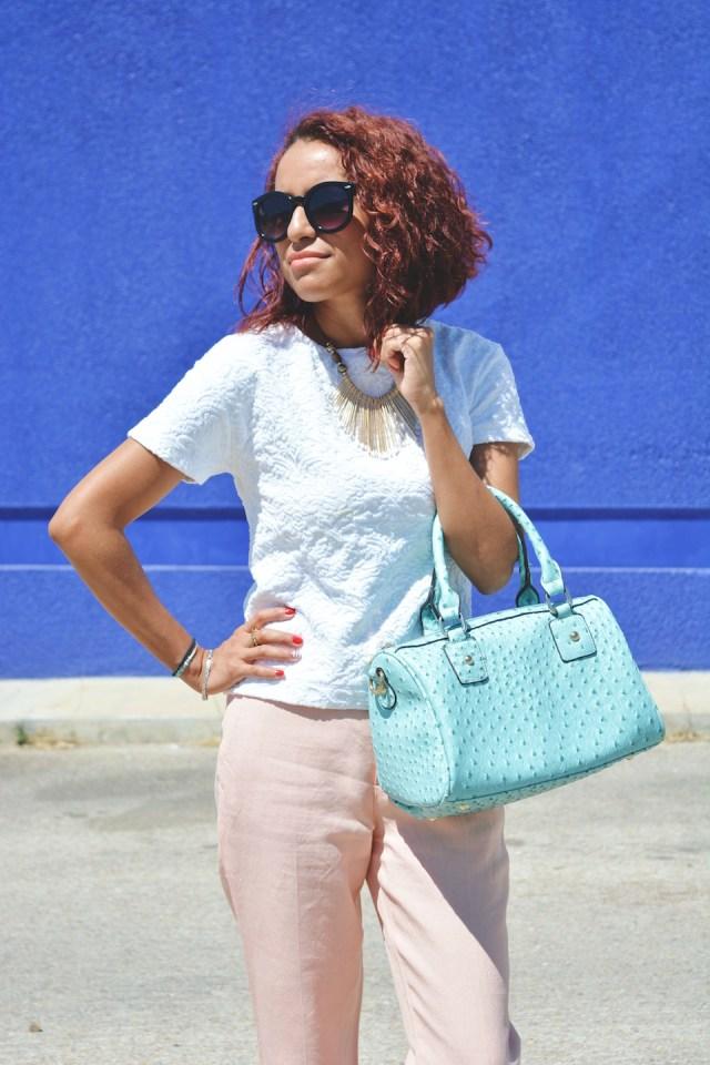 Pantalón rosa cuarzo y turquesa 10