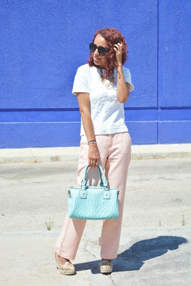 Pantalón rosa cuarzo y turquesa 8