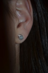 earrings: diamond studs