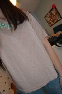 shirt: gap  necklace: francesca's turquoise bubble drop necklace