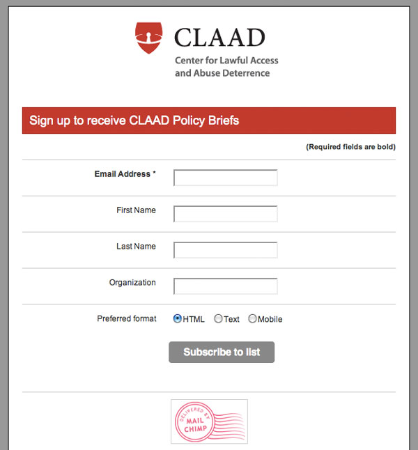 CLAAD - email sign-up using Mailchimp