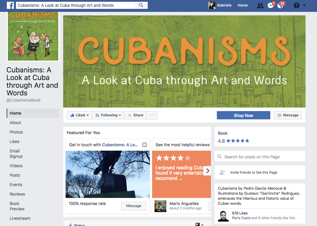 Cubanisms Book on Facebook