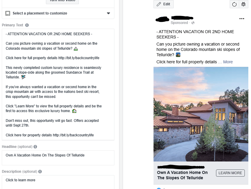 Your ad copy and images are what sell your real-estate Facebook ad