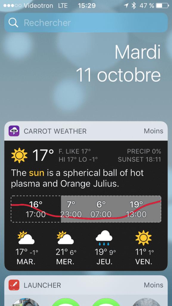 Widget iOS 10 Carrot Weather