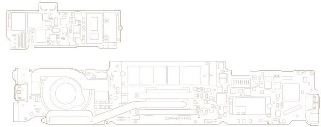 En haut, la carte mère du nouveau MacBook. En bas, celle de l'actuel MacBook Air.