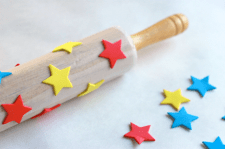foam-stickers-on-a-rolling-pin-to-make-handmade-wrapping-paper