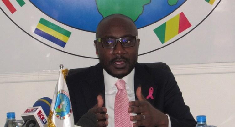 Le Ministre de l'Agriculture Biendi Maganga Moussavou durant sa conférence de presse au siège de la CEEAC le 29 octobre à Libreville © Gabonactu.com