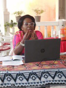 L'experte en genre et médiation et présidente de l'ONG Malachie Pépecy Ogouliguendé durant son exposé  © Com ONG Malachie