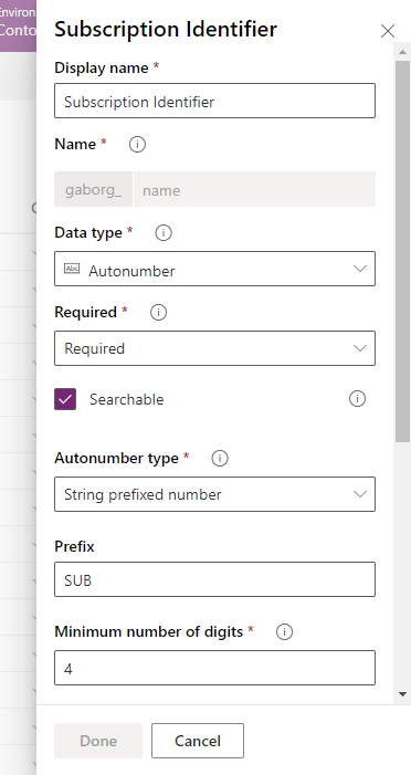 Autonumber property in Common Data Service