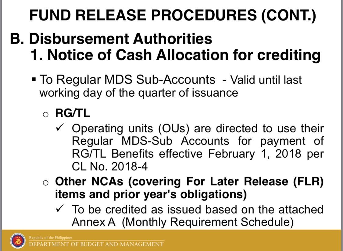 Validity of Disbursement Authorities for CY 2018 (i e , NCA