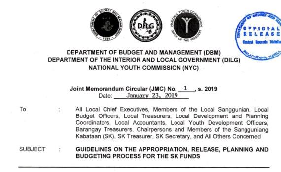 DBM-DILG-NYC Joint Memorandum Circular No  1 series of 2019