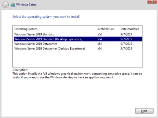 Windows 2019 Desktop Experience